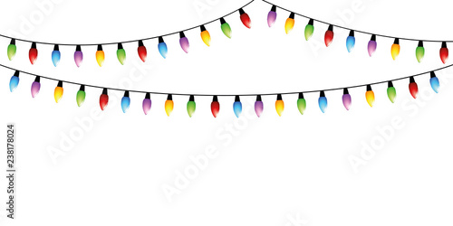 Christmas Fairy Lights Illustration.Colorful Christmas Fairy Lights Isolated On White Background