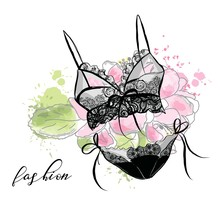Fashion Sketch Women's Lace Sexy Lingerie, Bra And Panties. Flower Background.