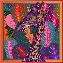 Leaves Tropical Tree And Head Of African Animal Giraffe Close-up. Luxury Floral Print