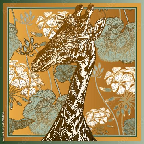 Fototapeta premium Animal print. Head African giraffe close-up and geranium flowers and leaves.