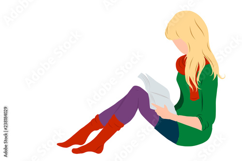 Photo Blonde hair girl, lady reading a book flat style illustration for education, books shop, magazine promo, fashion poster, banner, library logo, icon, bibliophile post card