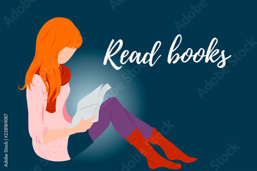 Red hair girl, lady reading a book flat style illustration for education, books shop, magazine promo, fashion poster, banner, library logo, icon, bibliophile post card Canvas Print