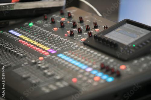 Fotografía  Sound mixer controller. In studio closeup view.