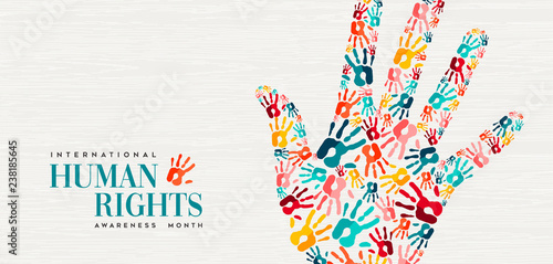 Poster Positive Typography Human Rights card of colorful people hand prints