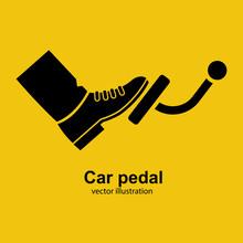 Pedal Car Black Icon Silhouett...