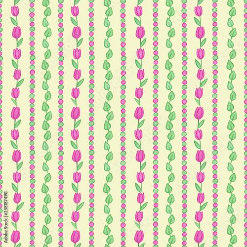 wzor-z-akwarela-recznie-rysowane-rozowe-tulipany-i-zielone-i-rozowe-punkty-i-liscie-na-zoltym-tle-tlo-mozna-latwo-zmienic-na-inny-kolor