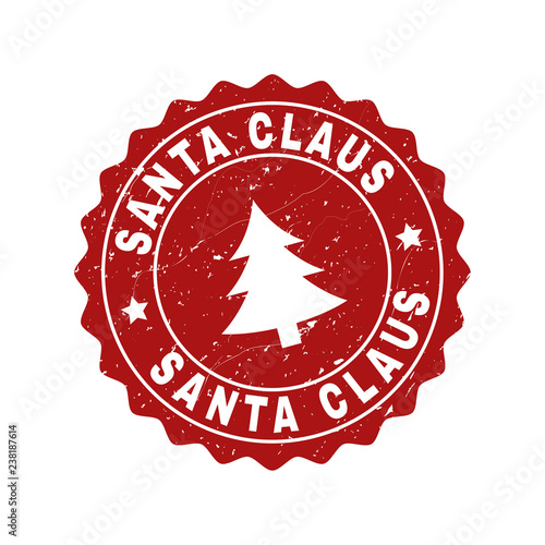 Grunge round Santa Claus stamp seal with fir-tree Canvas Print