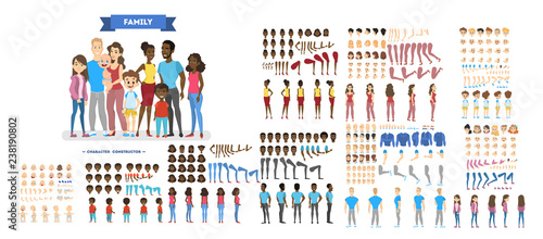 Slika na platnu Big family character set for the animation