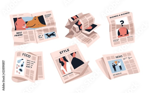 Collection of newspapers isolated on white background Tableau sur Toile