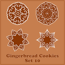 Vector Gingerbread Snowflakes Cookies Set. Merry Christmas Decor Elements.