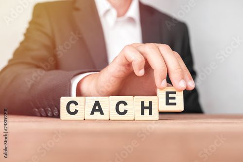 Fototapety, obrazy: Man made word CACHE with wood blocks