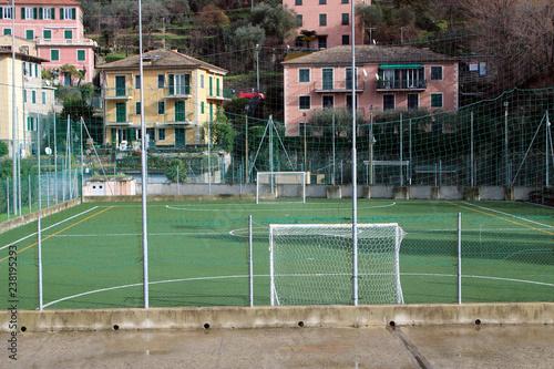 Fotografie, Obraz  Campo di calcio con facciate e alberi