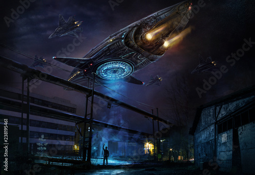 Fotografia Industrial landscape with strange flying object resembling a spaceship, accompanied by a column of planes and a man filming everything on a mobile phone camera