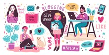 Blogging And Vlogging Set. Cute Funny Girls Or Bloggers Creating Content And Posting It On Social Media, Blog Or Vlog. Bundle Of Design Elements Isolated On White Background. Flat Vector Illustration.