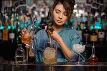 Bartender Girl Pouring To The ...