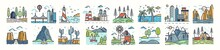 Set Of Landscape Icons Or Symbols. Collection Of Beautiful Natural Sceneries - Beach, Forest Camp, Countryside, Desert, City, Industrial Area. Colorful Vector Illustration In Modern Line Art Style.