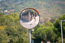 Close Up Traffic Convex Mirror, Road Safety Concept