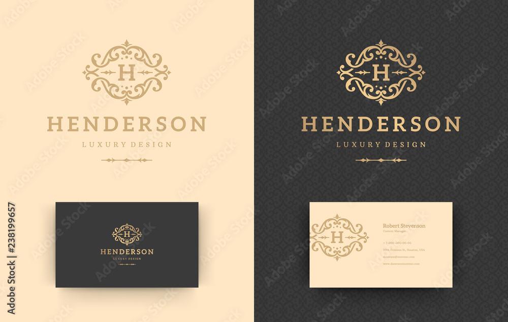 Fototapeta Luxury logo monogram crest template design vector illustration.