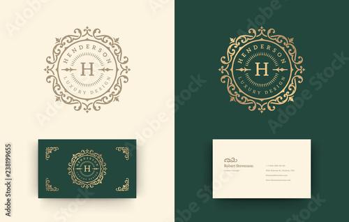 Valokuva Luxury logo monogram crest template design vector illustration.