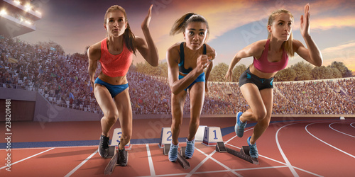 Fotografie, Obraz  Female athletes sprinting