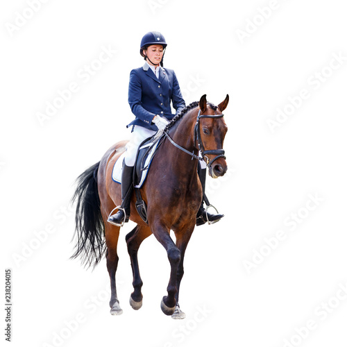 Young dressage woman on horse isolated on white Wall mural