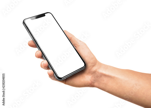 Fotografía  Man hand holding the black smartphone with blank screen