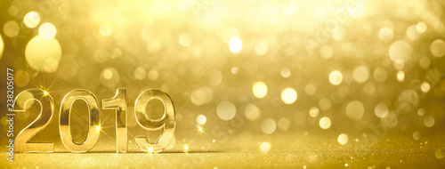 Fotobehang Hoogte schaal New year 2019 golden figures