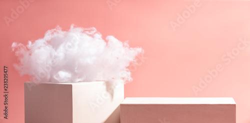 Cotton cloud on cube Canvas Print