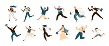 Collection Of Joyful Running Men And Women Dressed In Casual Clothes. Set Of Funny Smiling People In Hurry Or Haste. Happy Flat Cartoon Characters Isolated On White Background. Vector Illustration.