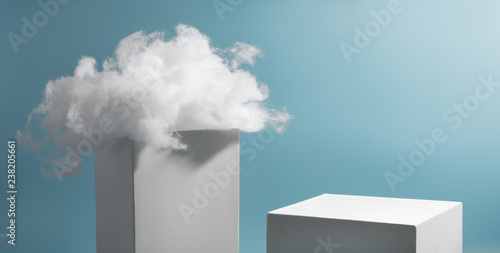 Cotton cloud on cube Wallpaper Mural