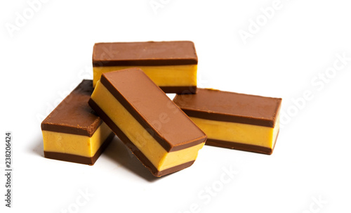 Photo Stands Grocery Hazelnut chocolate bars isolated on white