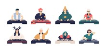 Collection Of Male And Female DJ S Isolated On White Background. Bundle Of Cute Funny Disc Jockeys Playing Music Records On Audio Mixers Or Controller. Vector Illustration In Flat Cartoon Style.
