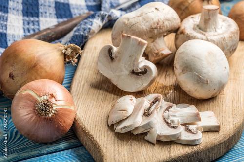 Fotografie, Obraz  Sliced raw mushrooms.