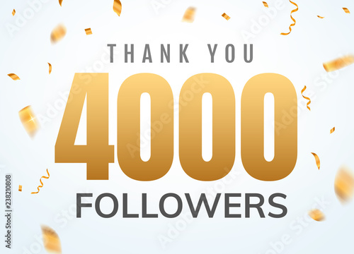 Fotografie, Obraz  Thank you 4000 followers design template social network number anniversary
