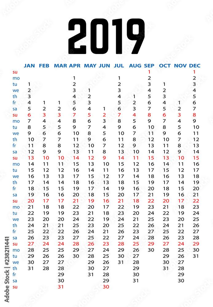 Fototapeta 2019 Year Yearly Planner Calendar  - obraz na płótnie