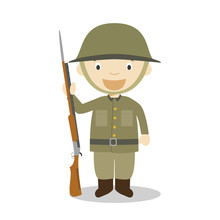 First World War Soldier Cartoon Character. Vector Illustration. Kids History Collection.
