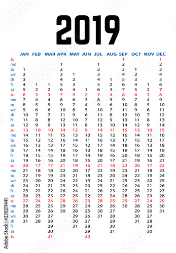 Fototapeta 2019 Year Yearly Planner Calendar  obraz na płótnie