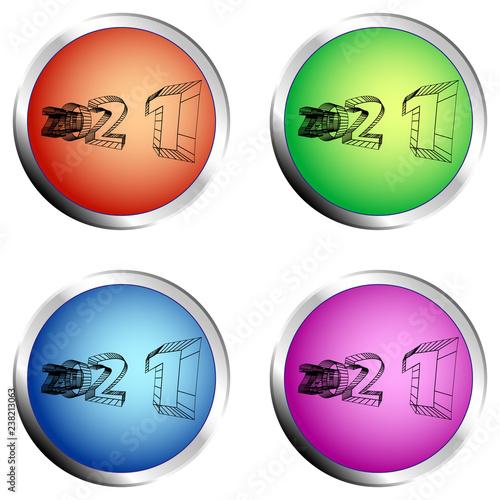 Fotografia  2021 colored circle push button set