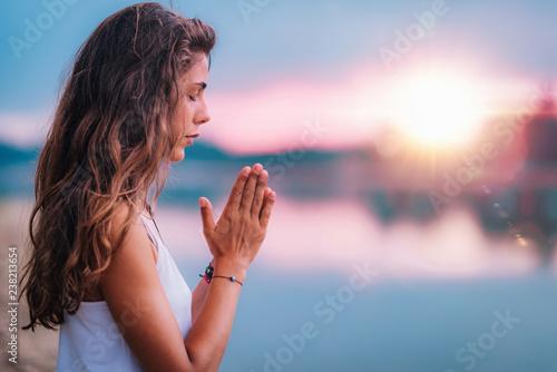 Meditating. Close Up Female Hands Prayer