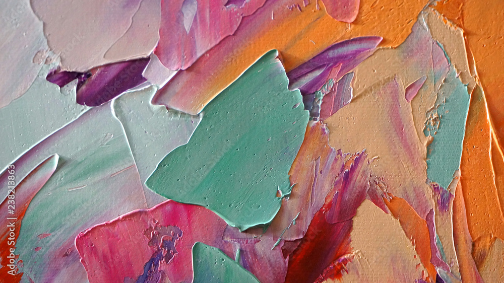 Fototapeta Fragment of multicolored texture painting. Abstract art background. oil on canvas. Rough brushstrokes of paint. Closeup of a painting by oil and palette knife. Highly-textured, high quality details.