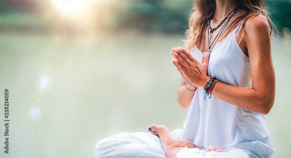 Fototapety, obrazy: Mindfulness and Meditation. Yoga Woman. Hands in Prayer Position.