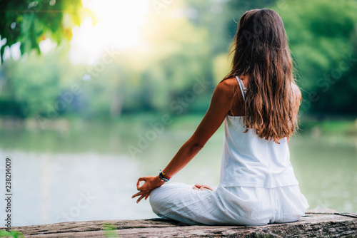 Meditation by the Water. Yoga Woman