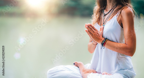 Mindfulness and Meditation. Yoga Woman. Hands in Prayer Position.