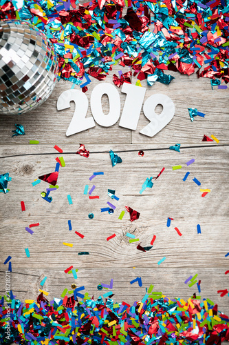 Fotografie, Obraz  NYE2019: 2019 Year Numbers With Mirrored Disco Ball