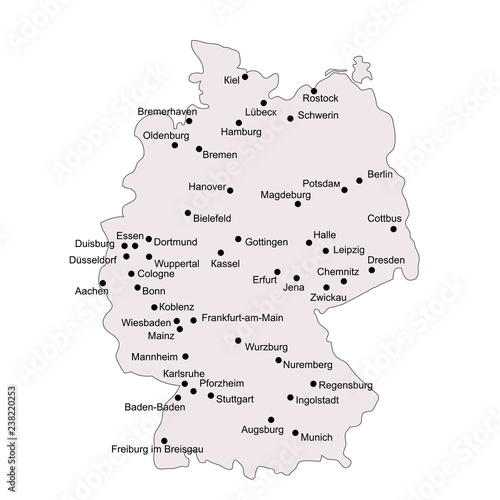Germany outline map with stroke isolated on white background ...