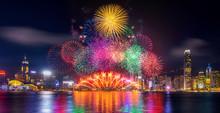 Firework Festival In Hong Kong At Night.