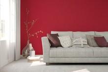 Idea Of Red Minimalist Room With Sofa. Scandinavian Interior Design. 3D Illustration
