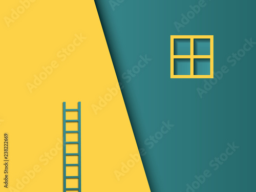Leinwand Poster Business challenge vector concept with misplaced ladder