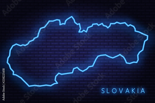 Fototapeta Map of Slovakia, neon light. Vector illustration of EPS 10.