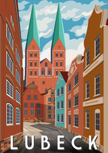Summer Day In Lubeck, Germany. Retro Style Poster.